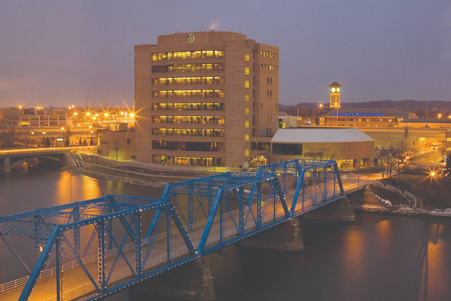 Exterior view of the L.V. Eberhard Center and the Blue Bridge